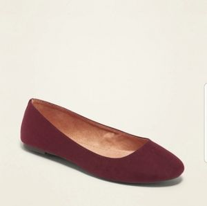 Old Navy Burgundy Faux Suede Ballet Flat